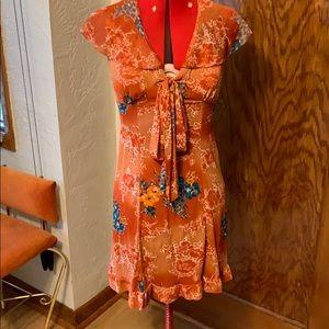 Vintage 1960s 1970s orange floral dress boho